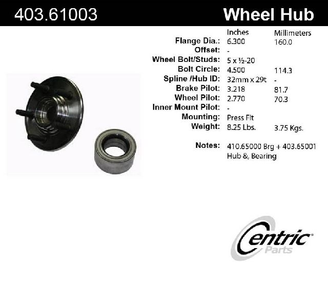 Centric Axle Bearing and Hub Assembly Repair Kit  Rear